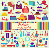 Fashion shopping background with women shoes bags and accessorie Stock Photography