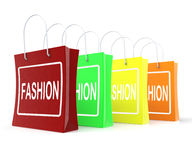 Fashion Shopping Bags Shows Fashionable Trendy Stock Images
