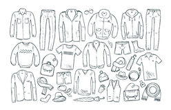 Fashion, shopping, boutique set icons. Collection of fashionable men`s clothing. Vector illustration Royalty Free Stock Photo