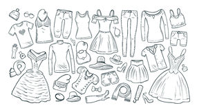 Fashion, shopping, boutique set icons. Collection of fashionable women`s clothing. Vector illustration Royalty Free Stock Image