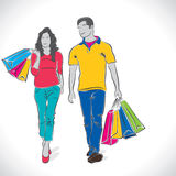 Fashion shopping couple Stock Photography