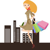 Fashion shopping girl Stock Photography