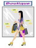 Fashion shopping girl. Vector illustration of the fashionable girl with purchases Royalty Free Stock Photography