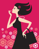 Fashion shopping girl. Stylish llustration of fashion shopping girl Stock Photo