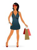 Fashion shopping girl with bag Royalty Free Stock Photography