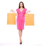 Fashion shopping girl. Beauty woman with shopping bags Royalty Free Stock Photo