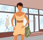Fashion shopping girl near shop. Illustration fashion shopping girl near shop - vector Royalty Free Stock Photography