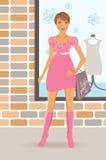 Fashion shopping girl near shop Stock Photography