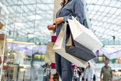 Fashion Shopping Girl Portrait. Beauty Woman with Shopping Bags in Shopping Mall. Shopper. Sales. Shopping Center Stock Photo
