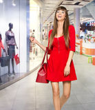 Fashion Shopping Girl Portrait. Beauty Woman with Shopping. Shop Royalty Free Stock Photo