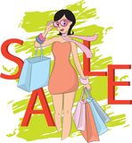 Fashion shopping girl and sale word Stock Images