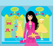 Fashion shopping girl with shopping bags and gift box Stock Photos