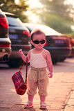 Fashion shopping girl wearing sunglasses Royalty Free Stock Photo