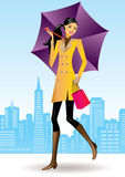 Fashion shopping girls. With shopping bag in San Francisco -  illustration Stock Photo