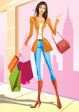 Fashion shopping girls. With shopping bag in New York -  illustration Royalty Free Stock Photos