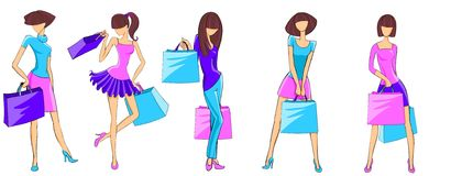 Fashion shopping girls Stock Images