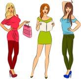 Fashion shopping girls. Beautiful fashion shopping girls. illustration for a design Stock Photography