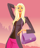 Fashion shopping girls with bag Royalty Free Stock Images