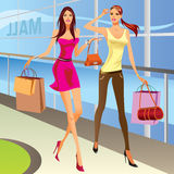 Fashion shopping girls with bags. Illustration Stock Photo