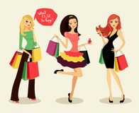 Fashion shopping girls. Blonde, brunette and redhead fashion shopping girls with bags and packages in hand, glad purchases, vector illustration Royalty Free Stock Image