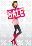 Fashion shopping girls with board sale. Illustration Royalty Free Stock Photos