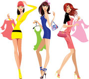 Fashion shopping girls with dress vector illustration