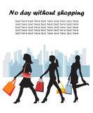 Fashion shopping girls illustration Royalty Free Stock Photo
