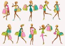 Fashion shopping girls. Illustration set royalty free illustration