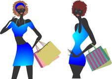 Fashion shopping girls illustration set Stock Images