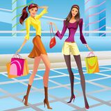 Fashion shopping girls in a mall. Vector illustration Royalty Free Stock Images