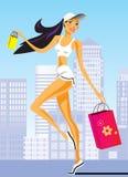 Fashion shopping girls with shopping bag Royalty Free Stock Image