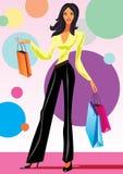Fashion shopping girls with shopping bag. Illustration Royalty Free Stock Image