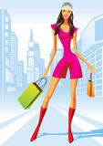 Fashion shopping girls with shopping bag. In New York -  illustration Royalty Free Stock Photography