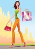 Fashion shopping girls with shopping bag. Illustration Stock Photo