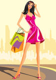 Fashion shopping girls with shopping bag Royalty Free Stock Image