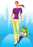 Fashion shopping girls with shopping bag in London. Illustration Royalty Free Stock Photo