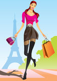 Fashion shopping girls with shopping bag in Paris. Illustration Stock Image