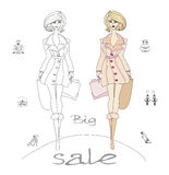 Fashion shopping icon doodle set Royalty Free Stock Images