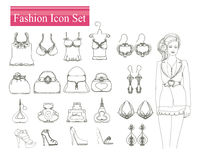 Fashion shopping icon  set Stock Photo