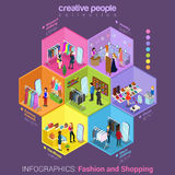 Fashion shopping mall interior flat vector concept. Flat 3d isometric fashion shopping mall cell abstract interior room customers clients buyers workers staff Stock Images