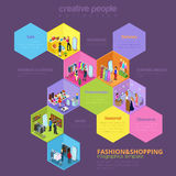 Fashion shopping sale seasonal vector isometric infographics Stock Images