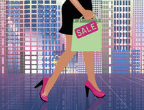 Fashion shopping woman in city. Vector illustration Royalty Free Stock Image