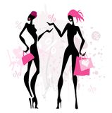 Fashion shopping women. Royalty Free Stock Photo