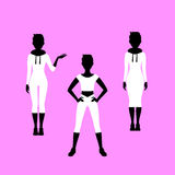 Fashion short hared woman model silhouettes Royalty Free Stock Photography