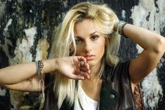 Fashion shot of beautiful blonde model Royalty Free Stock Image