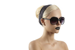 Fashion shot of blond girl with sunglasses Stock Images