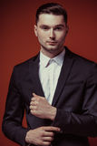 Fashion shot of elegant young handsome man in classic black costume, Royalty Free Stock Photo