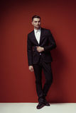 Fashion shot of elegant young handsome man in classic black costume, royalty free stock images