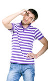 Fashion shot of an elegant young man wearing shirt. Isolated white backgound Stock Photo