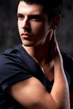 Fashion Shot of a macho Man. A trendy European man Royalty Free Stock Image